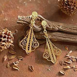 peruvian gold vermeil filigree earrings national