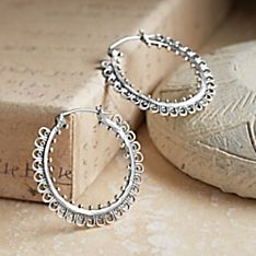 Batak Karo Sterling Silver Hoop Earrings