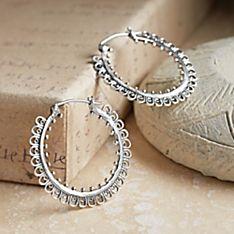 Batak Karo Sterling Silver Hoop Earrings