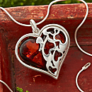 Cherry Amber Heart Necklace