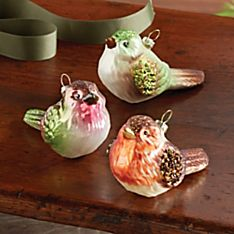 Blown-glass Bird Ornaments - Set of 3
