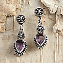 Balinese Amethyst Drop Earrings