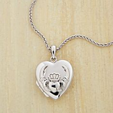 Silver Claddagh Heart Locket