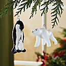 Penguin and Polar Bear Ornaments Set