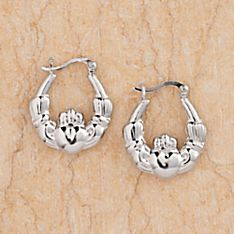 Sterling Silver Claddagh Hoop Earrings