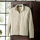 Irish Aran Patchwork Zip-up Cardigan