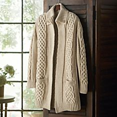 Aran Plaited Merino Wool Long Cardigan