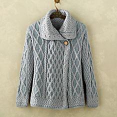 Aran Plaited Merino Wool Asymmetrical Cardigan