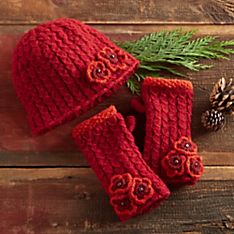 Nepali Rhododendron Knit Hat and Gloves