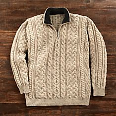 Men's Irish Aran Quarter-zip Pullover