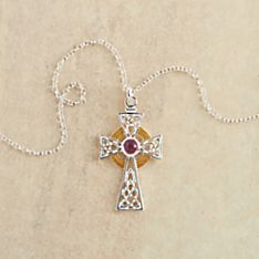 Celtic High Cross Silver and Amethyst Necklace