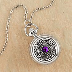 Celtic Knot Pendant Watch with Violet Stone