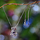 Indonesian Garnet and Amethyst Owl Necklace