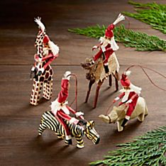 Kenyan Safari Santa Ornaments