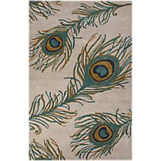 National Geographic Peacock Rug - White