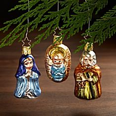 German Glass Holy Family Ornaments - Set of 3