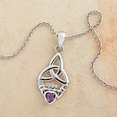 Amethyst Claddagh Necklace