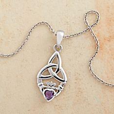 Amethyst Claddagh Necklace