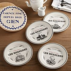 French Faience Dessert Plates - Set of 4