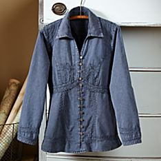 Lily of The Incas Button-Front Chambray Blue Blouse