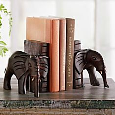 Rwandan Elephant Bookends