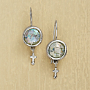 Roman Glass Sterling Silver Cross Earrings