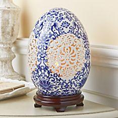 Good Fortune Porcelain Egg Lamp