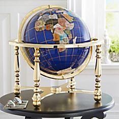 Semiprecious Inlaid Gemstone Globe