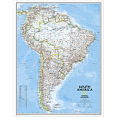South America Political Wall Map, Enlarged