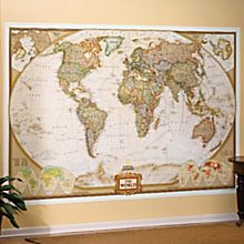 World Mural Wall Map, Earth-Toned