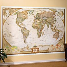 World Mural Map, Earth-toned
