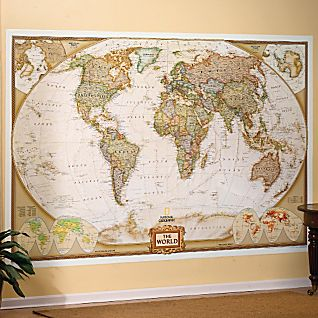 View World Mural Map, Earth-toned image