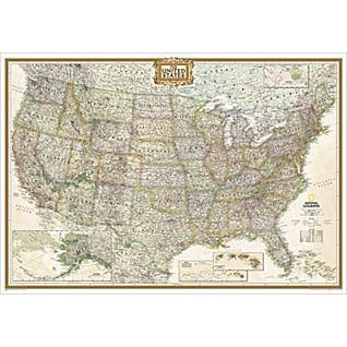 United States Executive Wall Map, Enlarged and Laminated