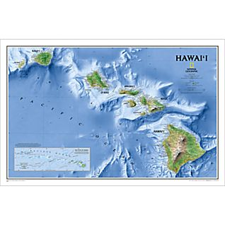 Hawaii Physical Map, Laminated