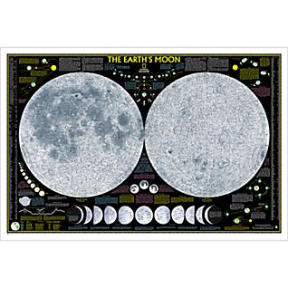 Earth's Moon Wall Map, Laminated