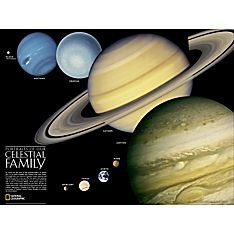 Solar System and Celestial Family Map, Laminated