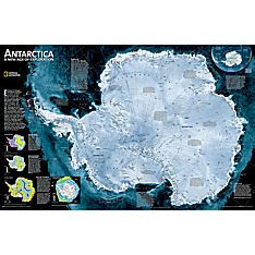 Antarctica Satellite Map, Laminated