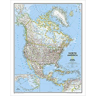 North America Political Map, Laminated