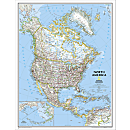 North America Classic Wall Map, Enlarged and Laminated