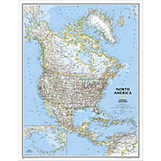 North America Political Map, Enlarged and Laminated, 2005