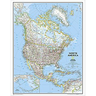 North America Political Map, Enlarged and Laminated