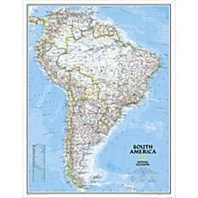South America Political Map, Enlarged and Laminated