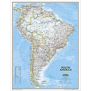 View South America Political Map, Enlarged and Laminated image