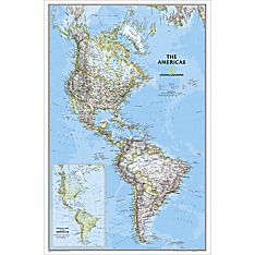 The Americas Political Wall Map, Laminated