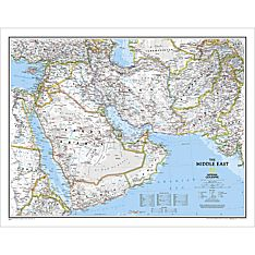 Afghanistan, Pakistan and Middle East Political Wall Map, Laminated