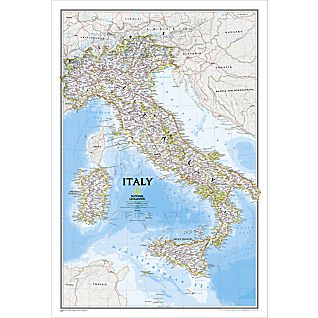 Italy Political Map, Laminated