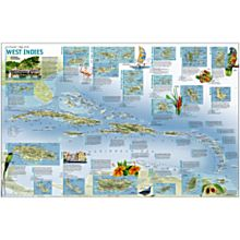 West Indies Traveler Wall Map, Laminated