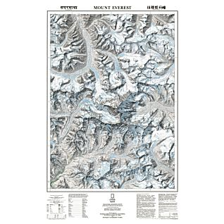 Mt. Everest and the Himalaya Topographic Map