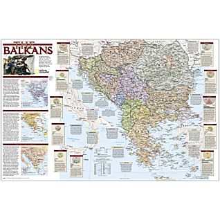 Balkans: Political and Historical Map, Laminated
