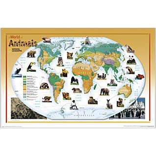 World of Animals Map, Laminated